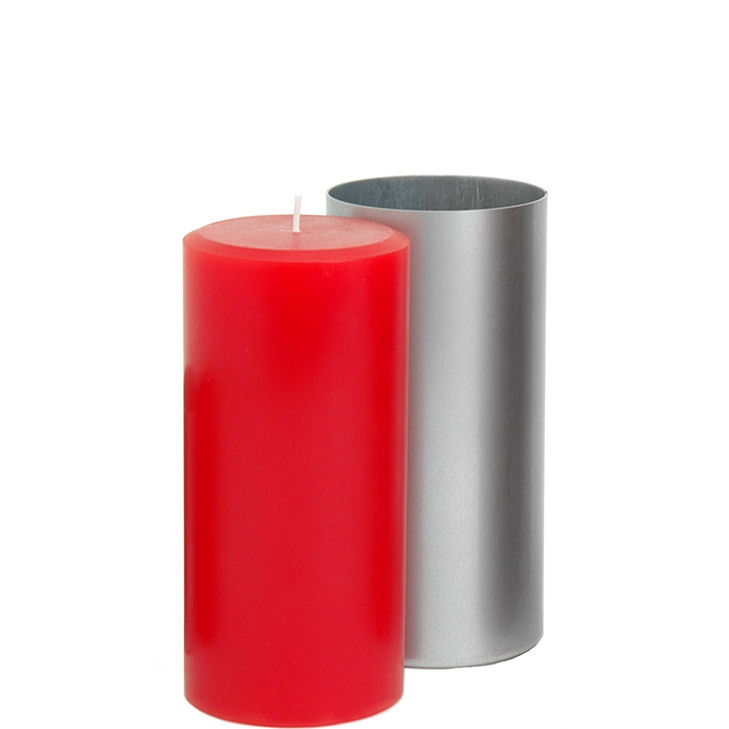 3 x 4.5 Round Pillar Candle Mold with red pillar candle