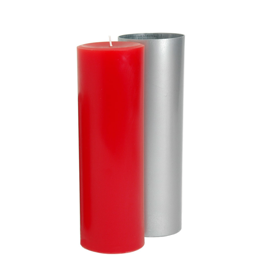 3 x 6.5 Round Pillar Mold with red pillar candle