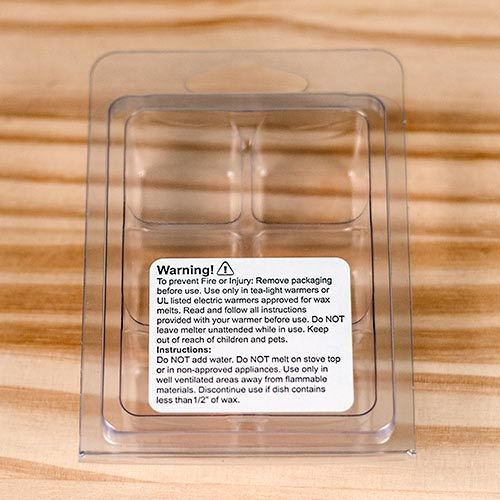 wax melt warning label on front of clamshell packaging