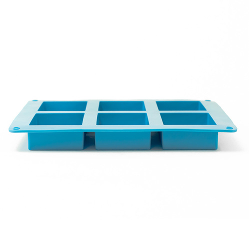6 bar rectangle silicone soap mold side view
