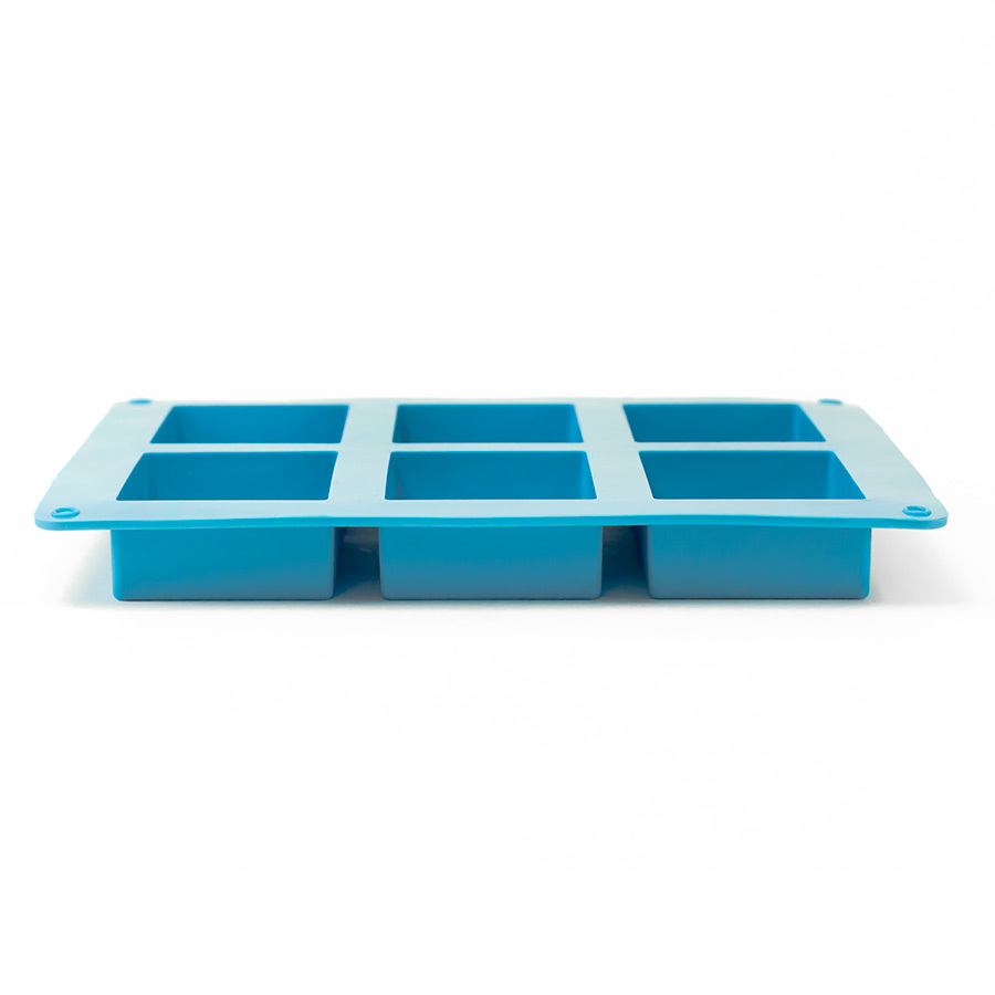 6 Bar Small Square Silicone Soap Mold Side view