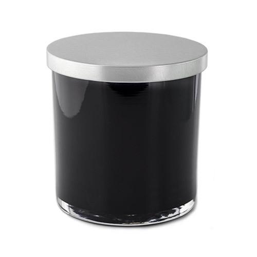86 mm Silver Metal Flat Lid on Black Tumbler Jar