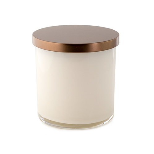 Bronze metal flat lid on tumbler jar
