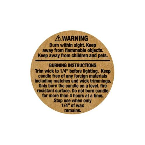 Kraft Warning Labels 1.25 Inch