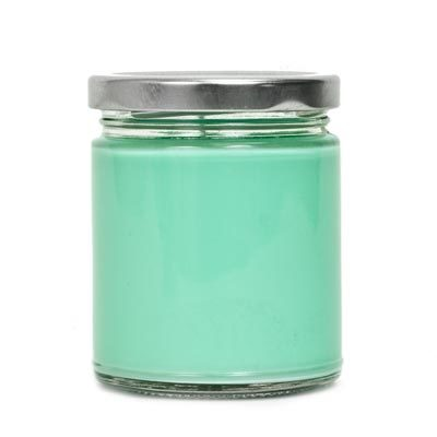 Medium Straight Sided Jar with Twist Top with silver lid and candle wax inside
