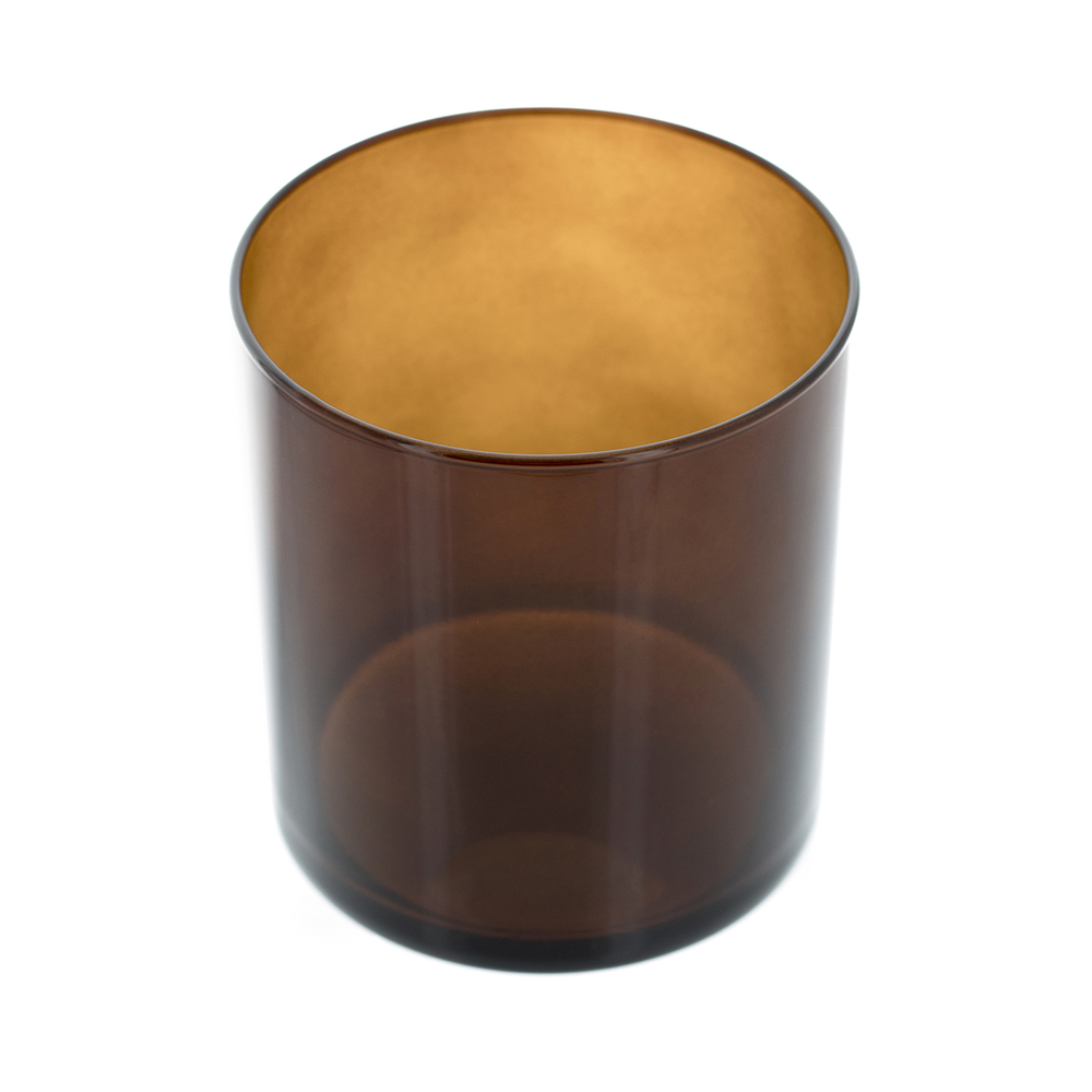 Inside of the amber straight sided tumbler Jar