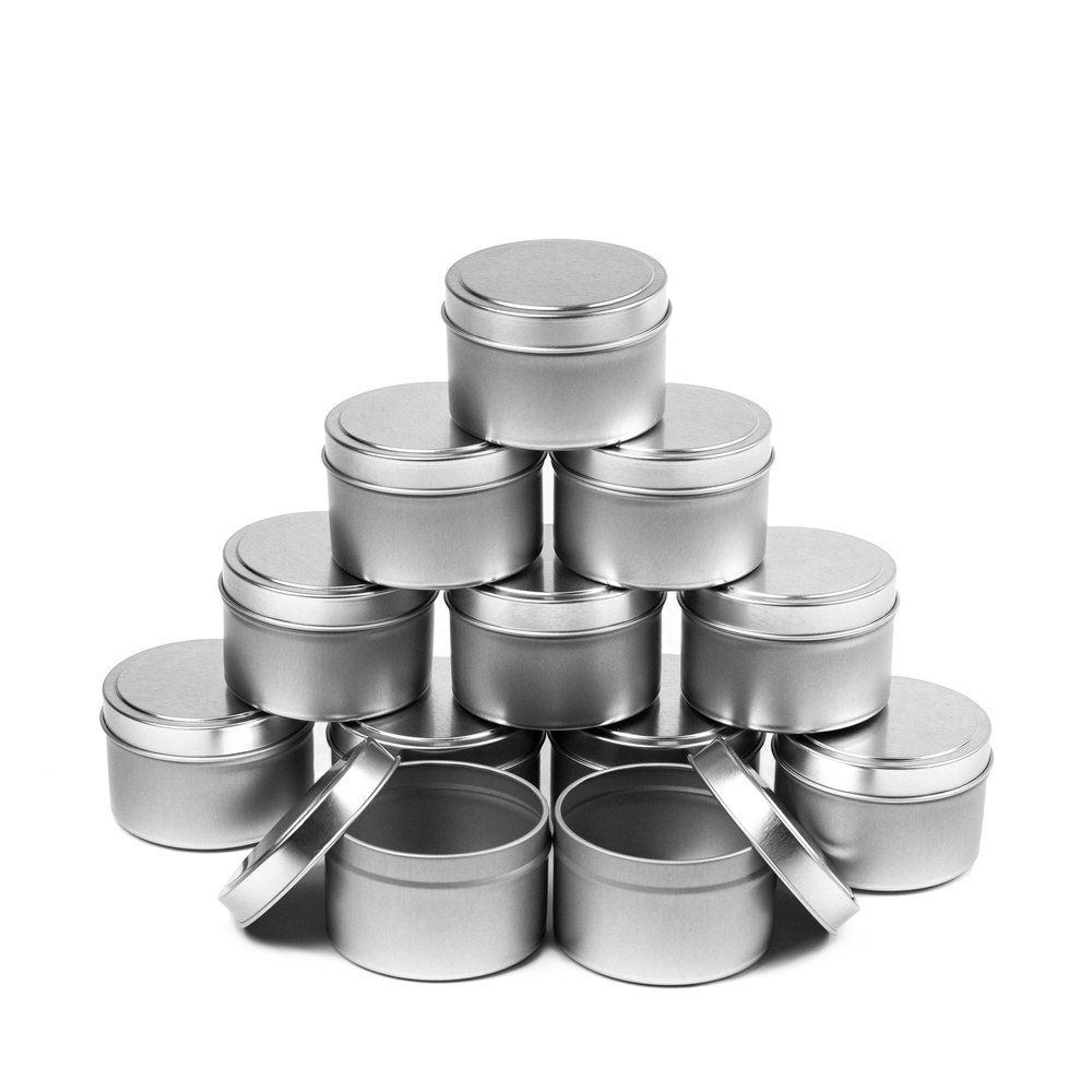 12-piece case of 4 oz. Candle Tins stacked together