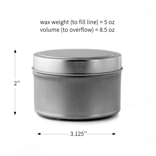 8oz cande tin dimensions