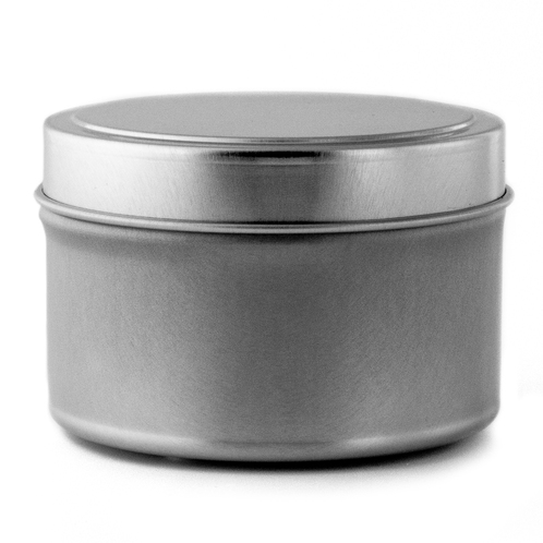 8 oz candle tin with lid side view