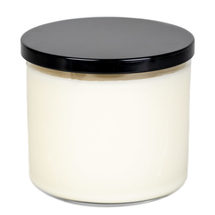 Black Metal Flat Lid 3-Wick on large tumbler jar