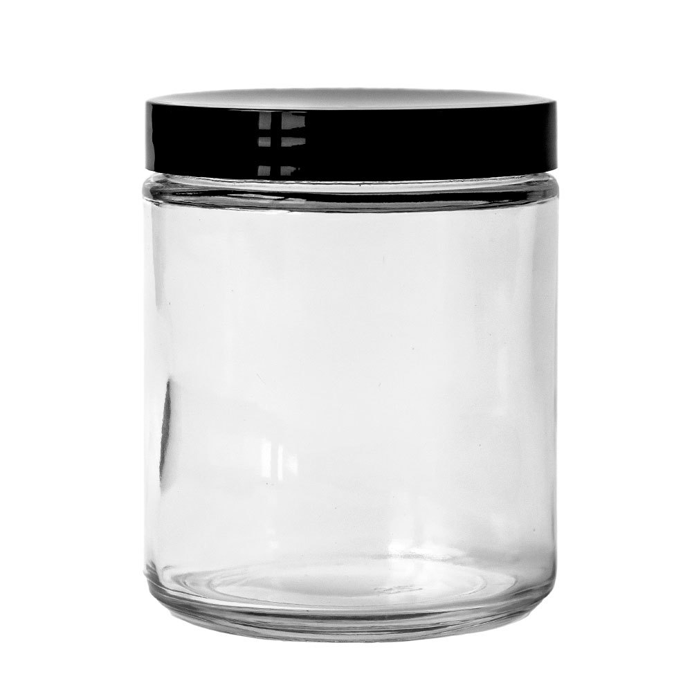 70-400 Black Plastic Threaded Lid on a clear glass jar