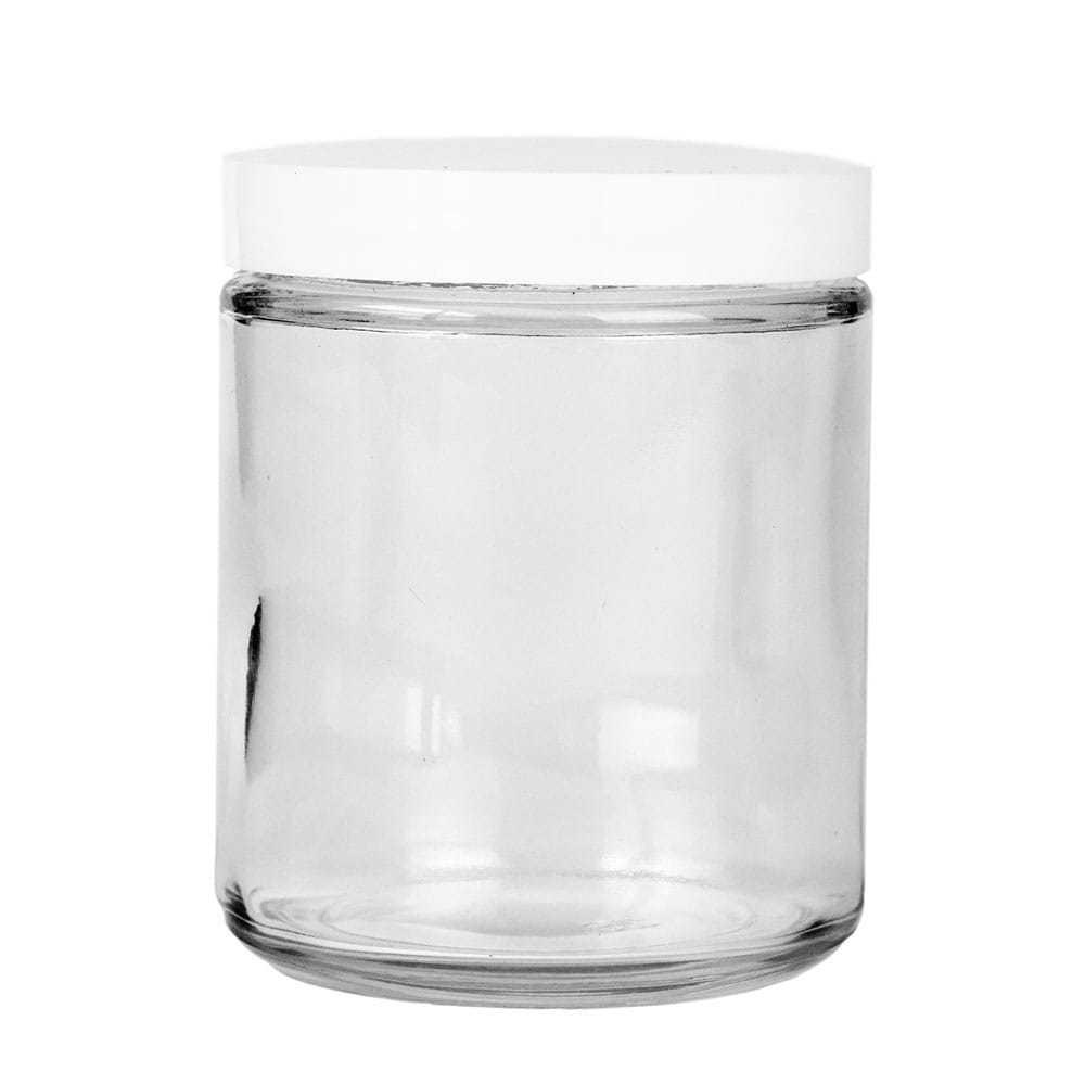 70-400 White Plastic Threaded Lid on top of glass jar