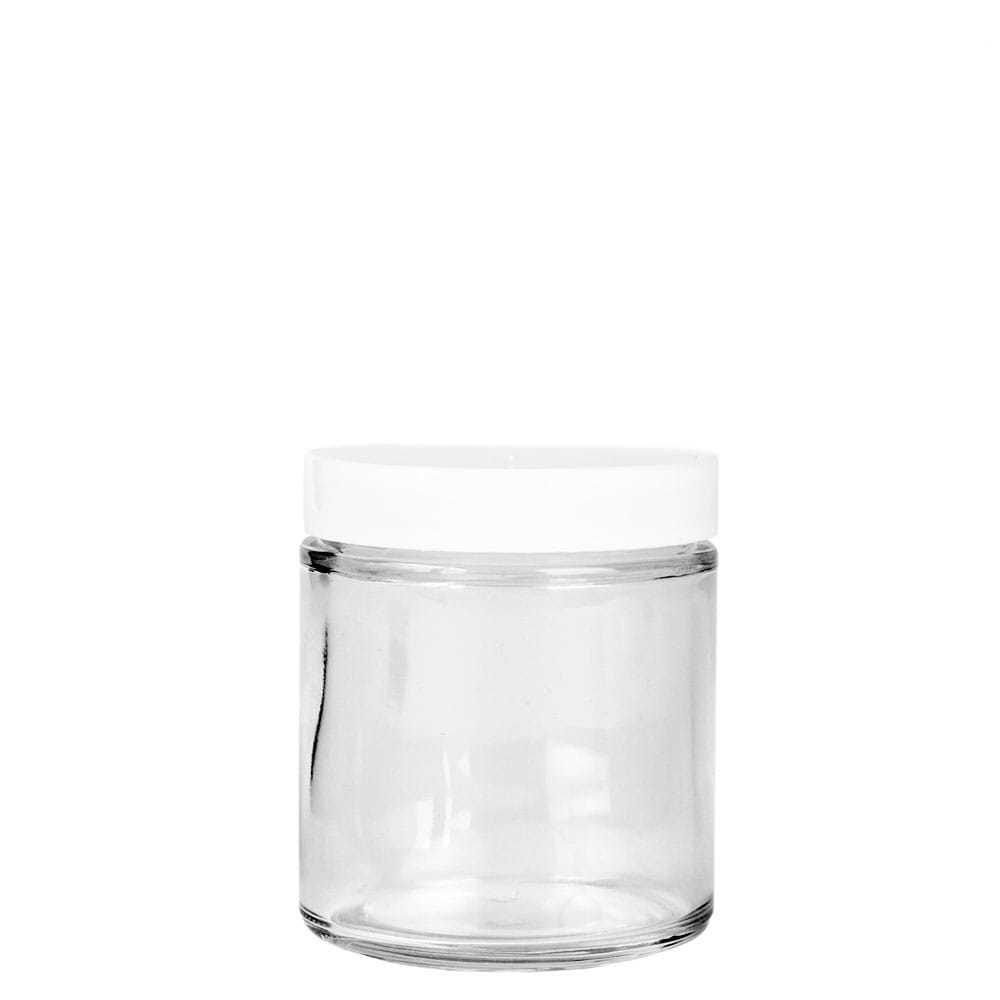 58-400 White Plastic Threaded Lid on top of a glass straight sided jar