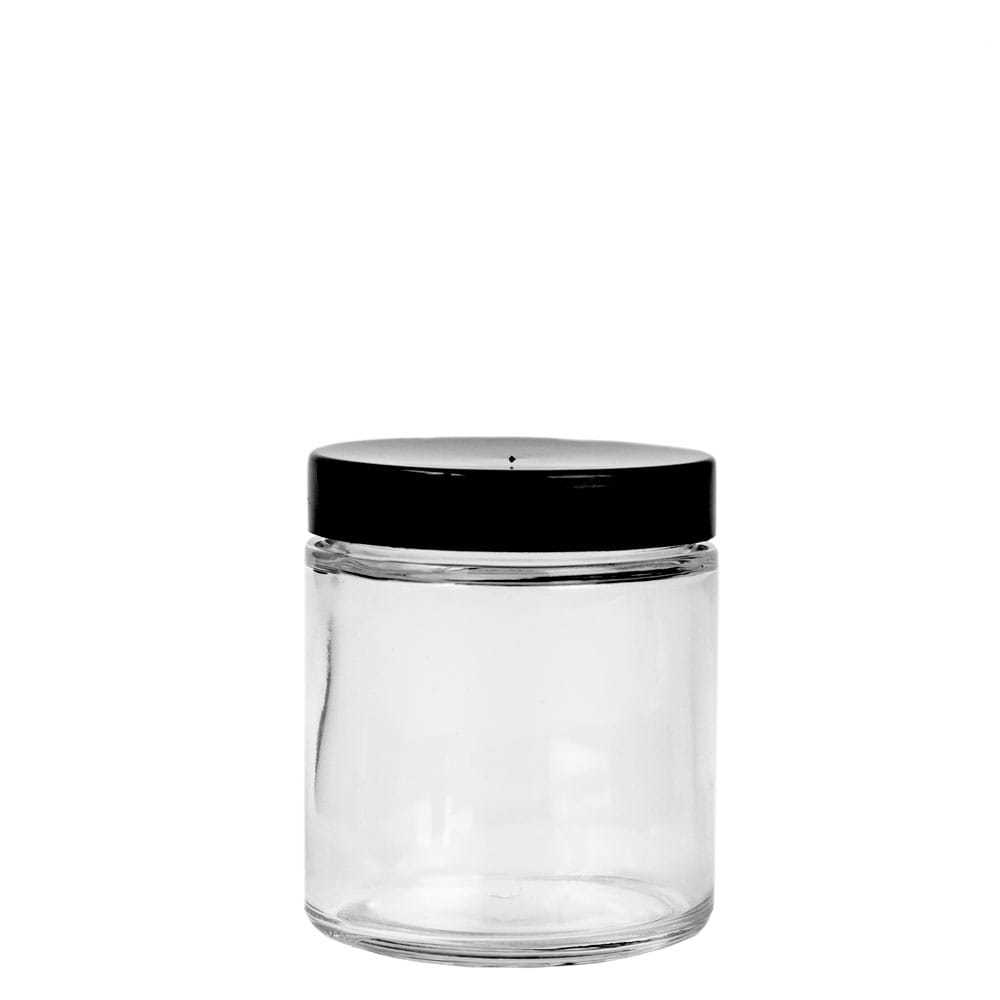 58-400 black plastic lid on top of a glass straight sided jar
