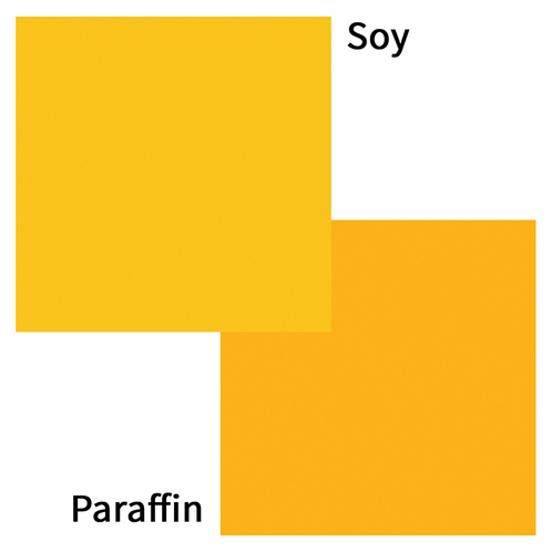 Yellow dye block in soy or paraffin wax