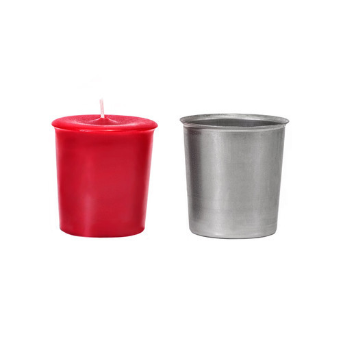 Metal Flared Votive Candle Mold with Red Votive Candle
