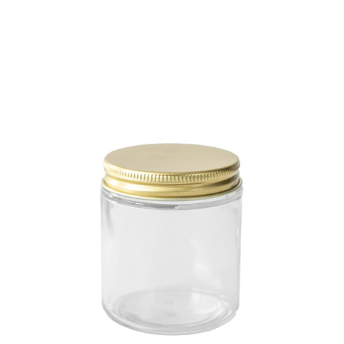 58-400 Gold Threaded Lid on top of a glass straight sided jar