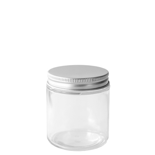 58-400 Silver Threaded Lid on top of a glass straight sided jar