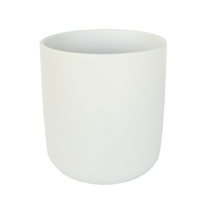 White Nordic Ceramic Tumbler Candle Container