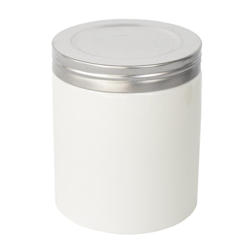 Faux threaded lid silver on white farmhouse ceramic jar.
