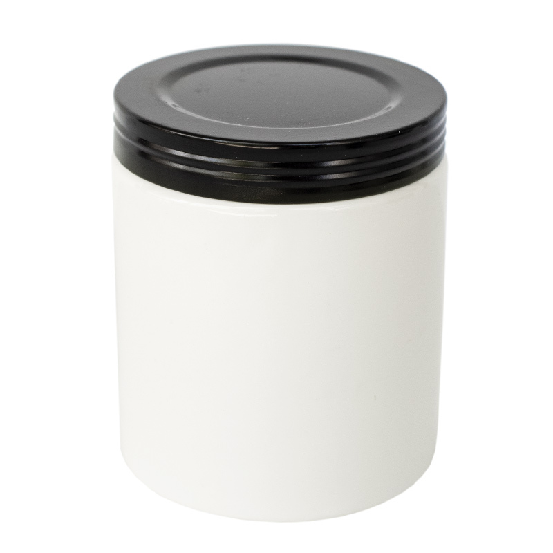 Black faux thread metal lid on white Farmhouse Ceramic Jar.