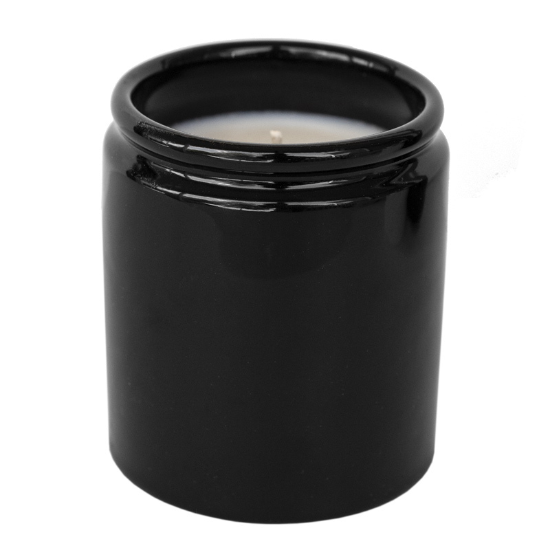 Farmhouse Ceramic Jar in black with candle.