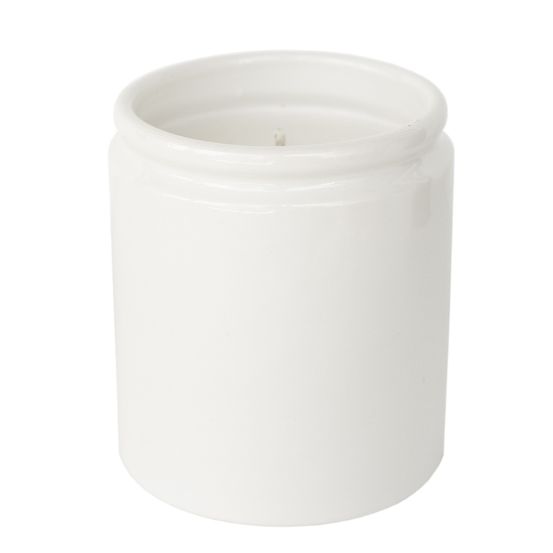 Farmhouse Ceramic Jar in white with candle