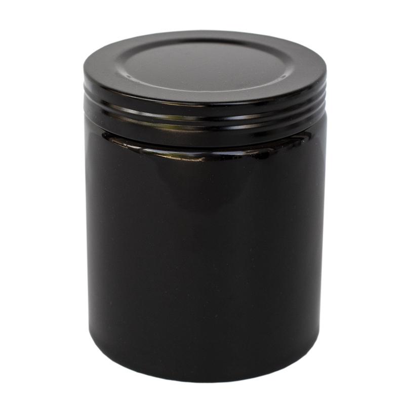 Farmhouse Ceramic Jar with Black Faux Thread Lid