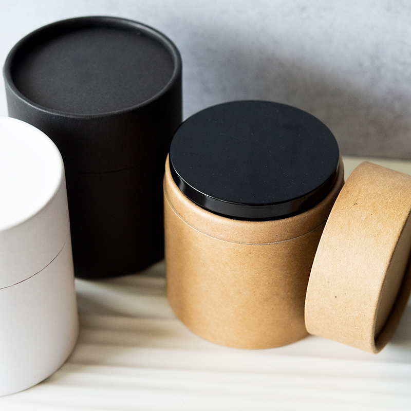 Paper Candle Tubes in Kraft, White, and Black
