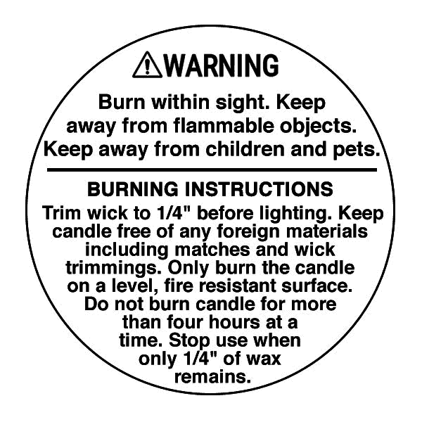 Candle warning label 2 inch